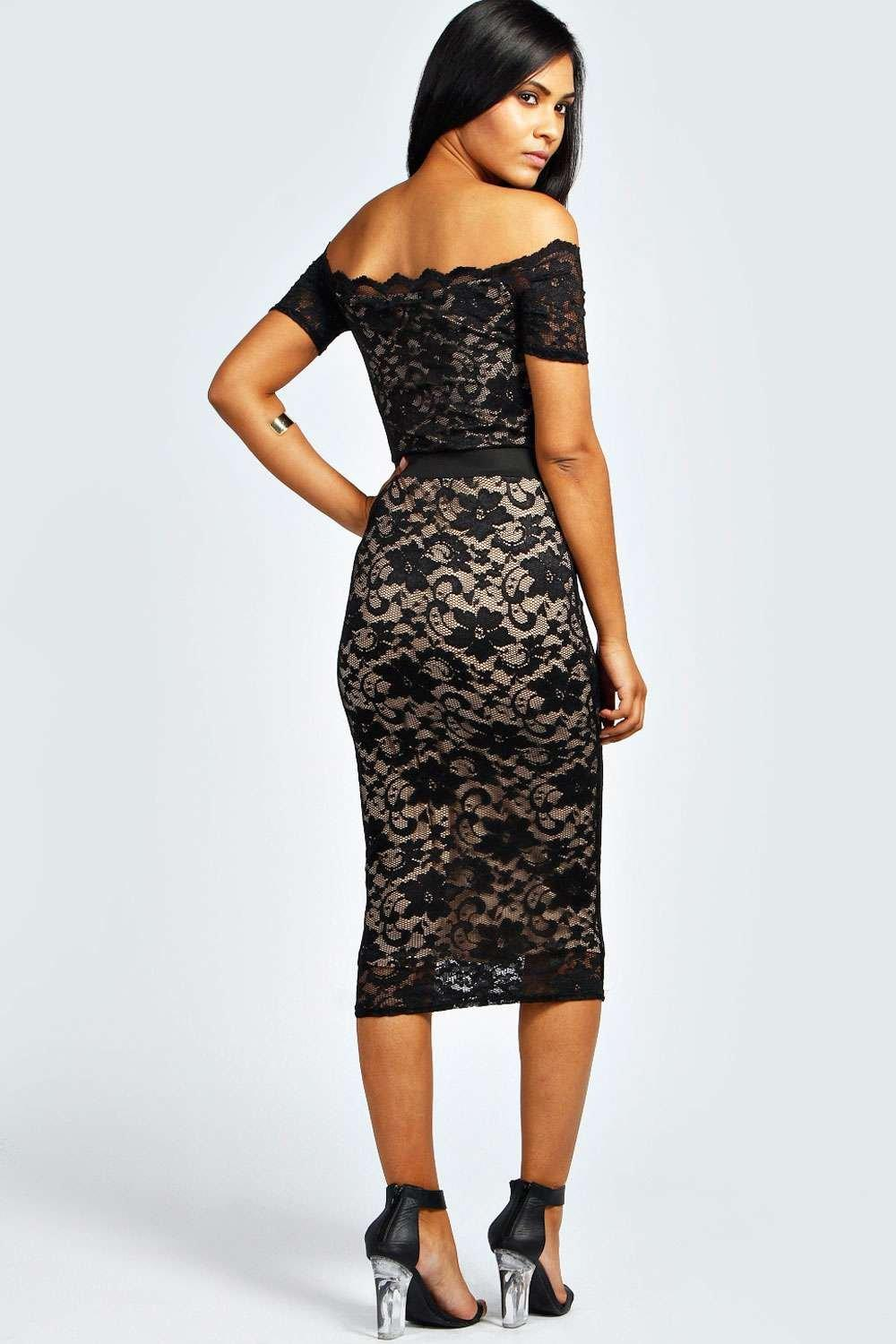 Black Lace Off the Shoulder Midi Dress