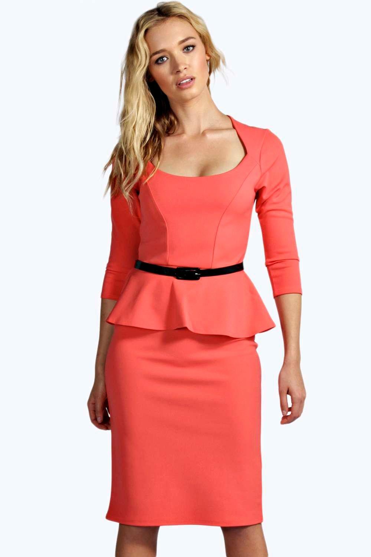 Belted Peplum Dress Midi