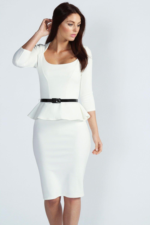 Midi Dress Long Sleeve Belted Peplum