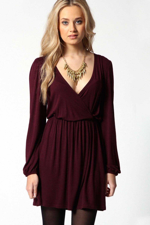 Boohoo Womens Ladies Adriana Jersey Long Sleeve Wrap Dress