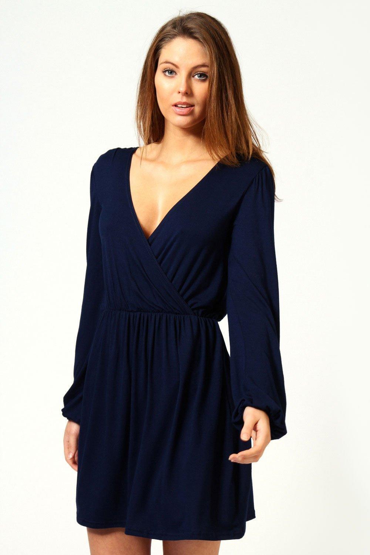 Long Sleeve Jersey Wrap Dress
