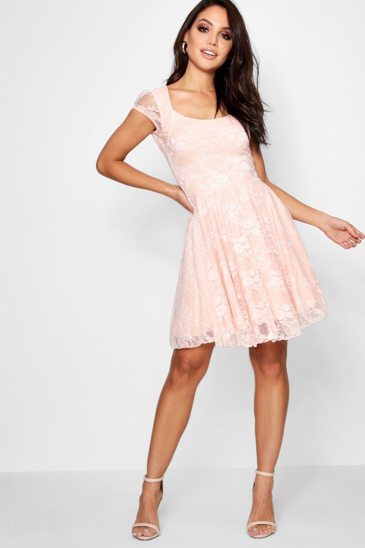 Boohoo Womens Caroline Cap Sleeve Lace Skater Dress  eBay
