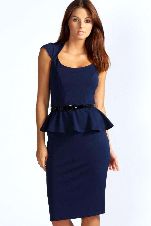 Boohoo Womens Keeley Peplum Belted Midi Dress