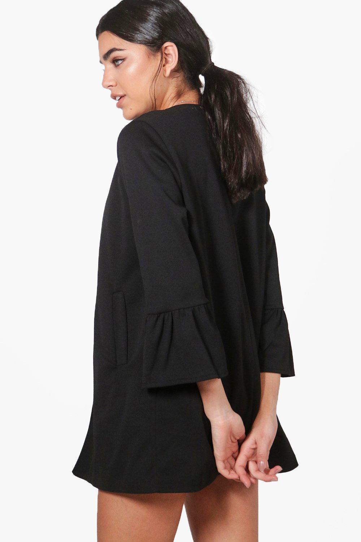 Boohoo Womens Melissa Collarless Ruffle Sleeve Blazer