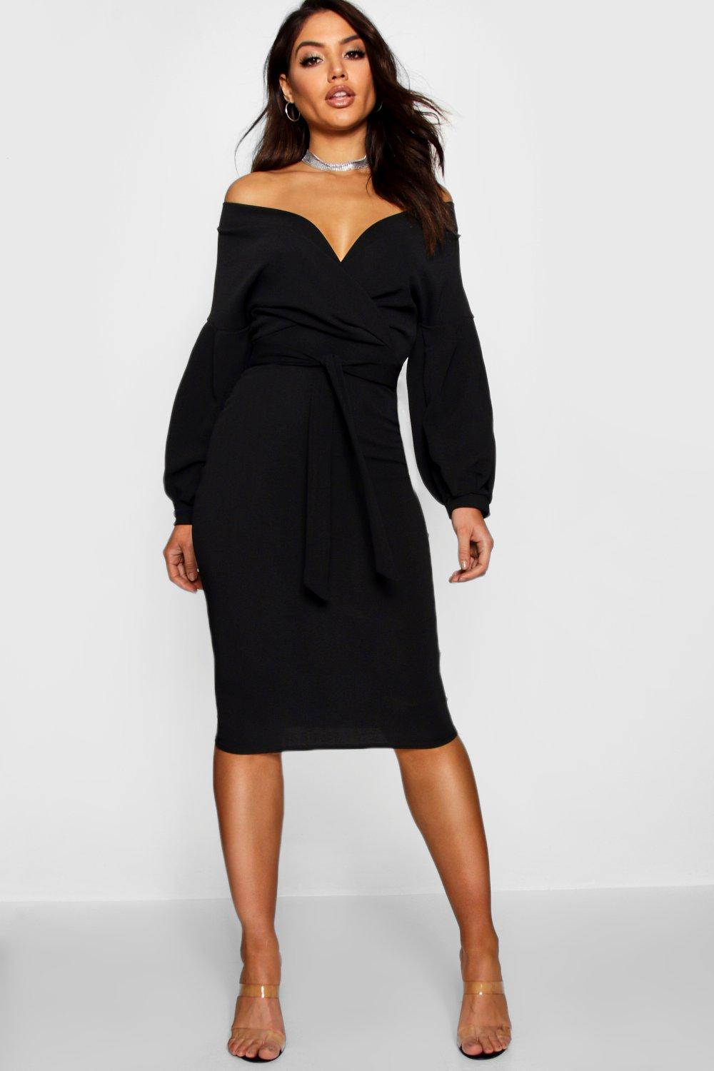 Nina Off the Shoulder Bodycon Wrap Midi Dress