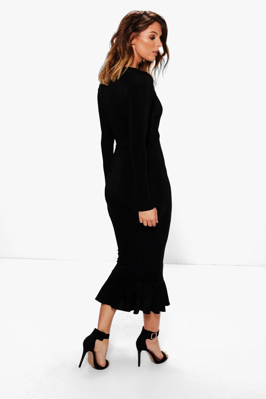 Peplum Hem Midi Dress