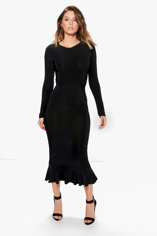 Peplum Hem Dress Long Sleeves