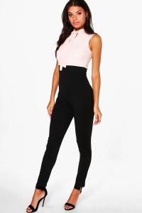 Boohoo Womens Tie Neck Tailored Jumpsuit