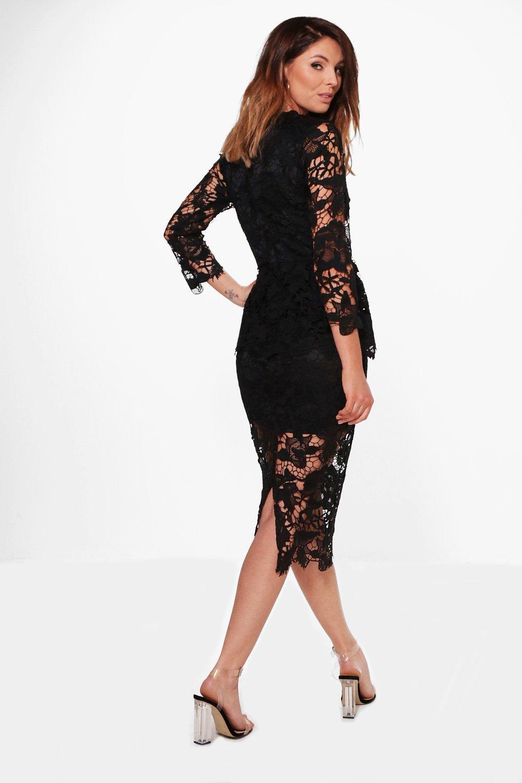 Boohoo Womens Boutique Kia Corded Lace Peplum Midi Dress