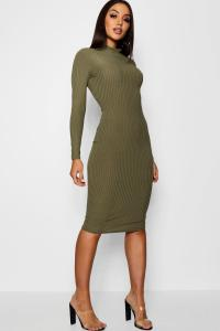 Boohoo Womens Flo Ribbed High Neck Long Sleeved Midi Dress ...