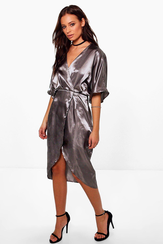 Kimono Sleeve Wrap Midi Dress