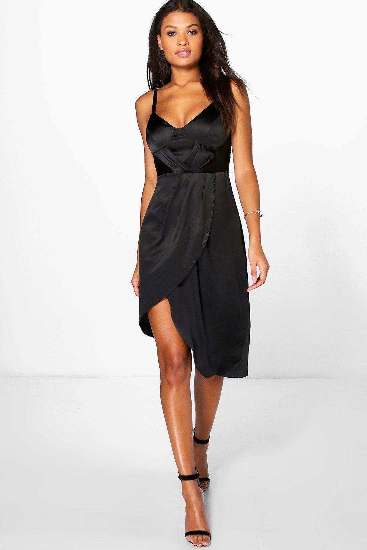 Satin Wrap Dress Midi