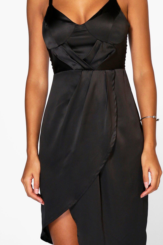Boohoo Womens Clara Satin Pleated Wrap Detail Midi Dress