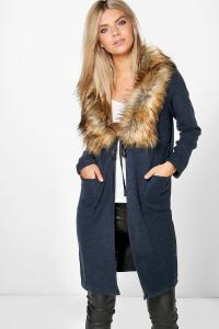 Olivia Faux Fur Shawl Collar Chuck On Coat | Boohoo