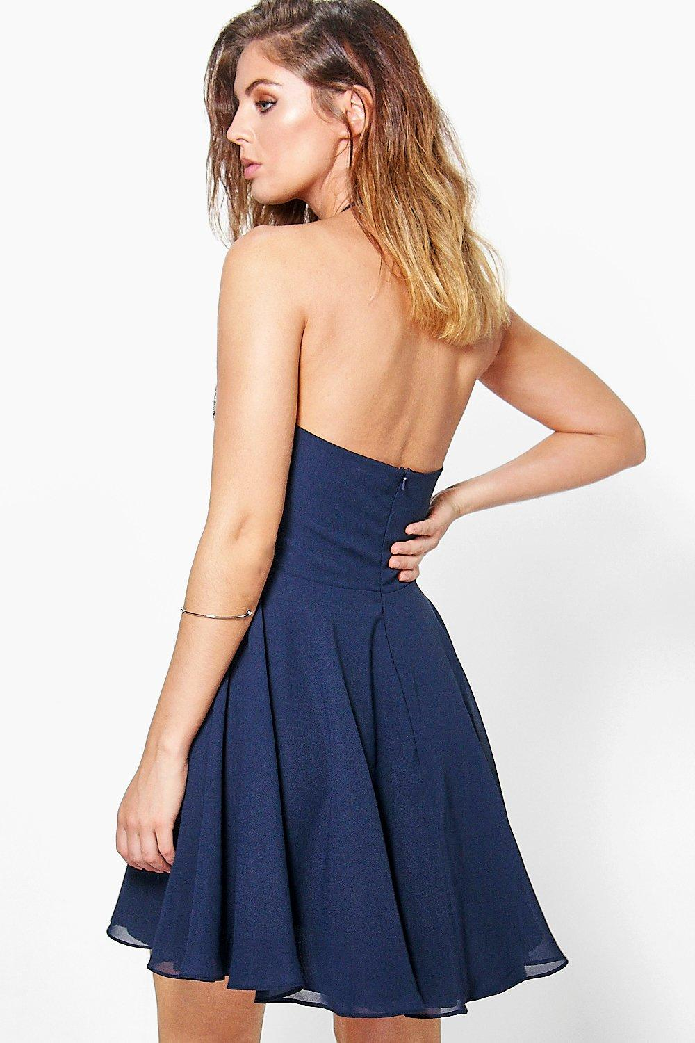 Boohoo Womens Boutique Alessya Embellished Scallop Skater