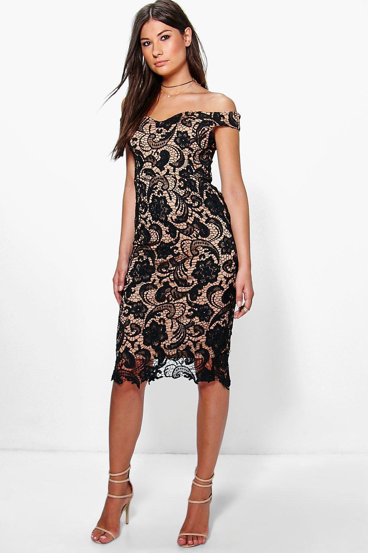 Black Lace Off the Shoulder Midi Dress