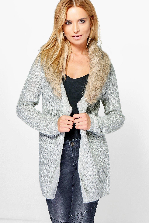 Boohoo Womens Sara Removable Faux Fur Trim Cardigan