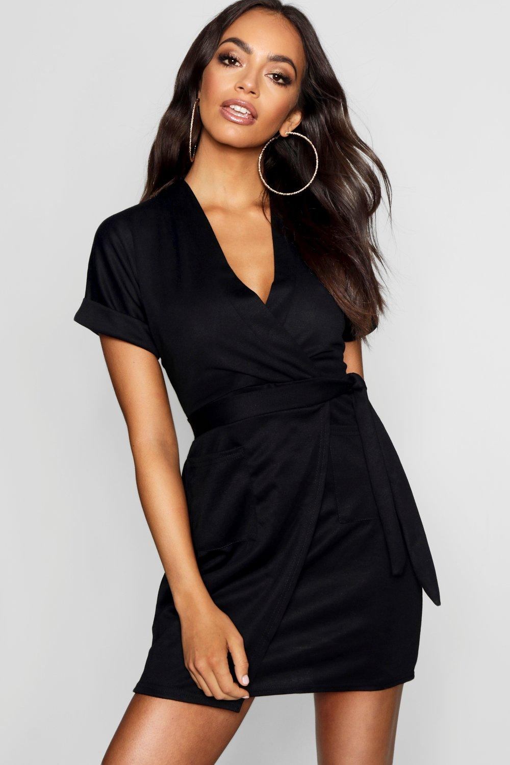 Black Wrap Dresses for Women