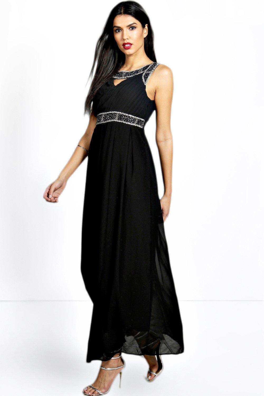 Embellished Chiffon Maxi Dress
