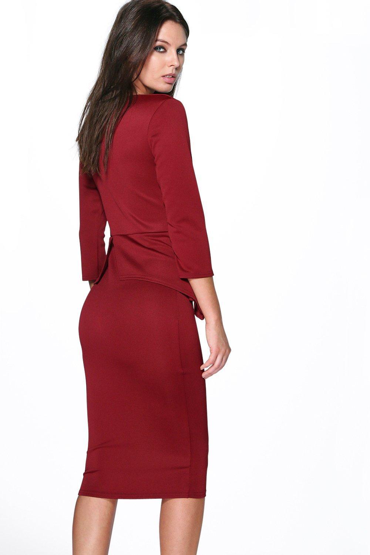 Boohoo Womens Silvia Plunge Peplum Midi Dress