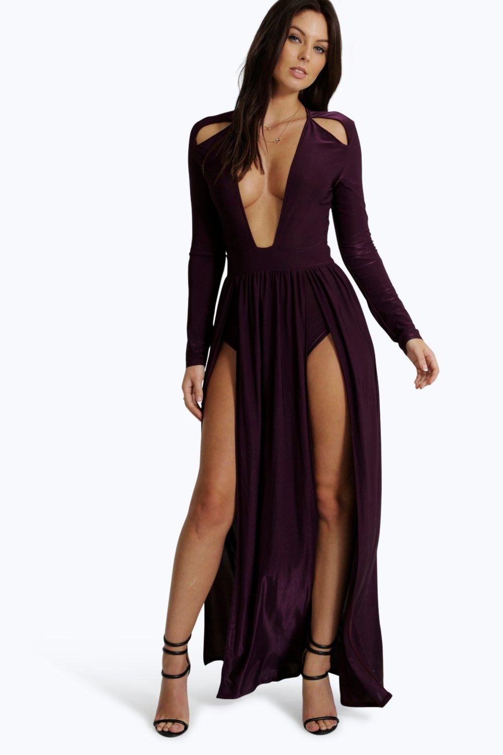 Plunge Neck Maxi Dress with Sleeves