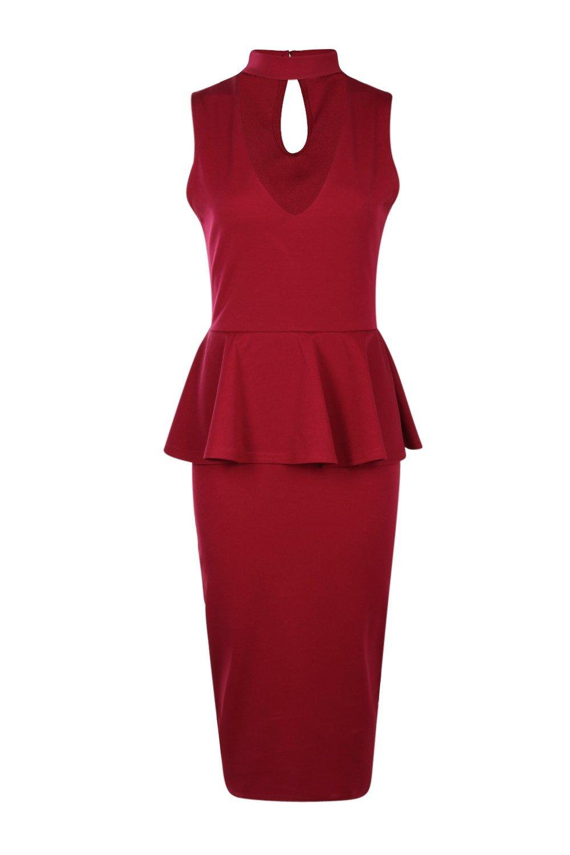 Boohoo Womens Brenda High Neck Cut Peplum Dress