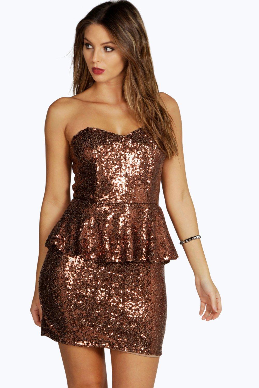 Boohoo Womens Boutique Claudia Sequin Peplum Dress
