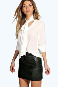 Boohoo Womens Bella Tie Neck Oversized Blouse