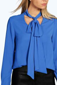 Women'S Neck Tie Blouse