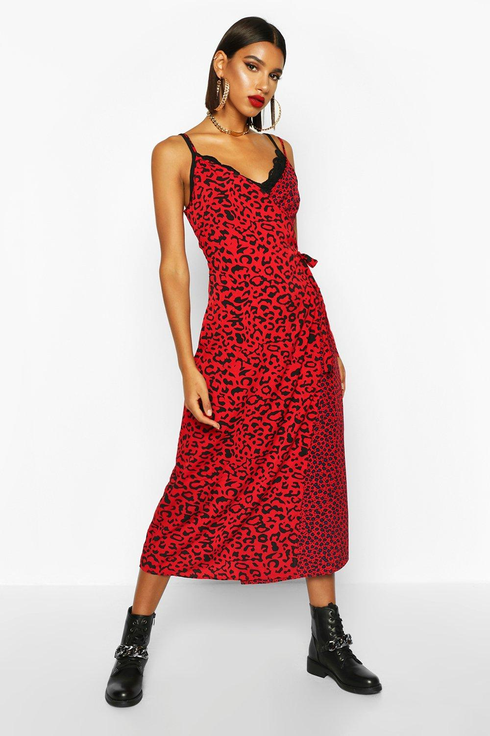 mixed leopard wrap dress