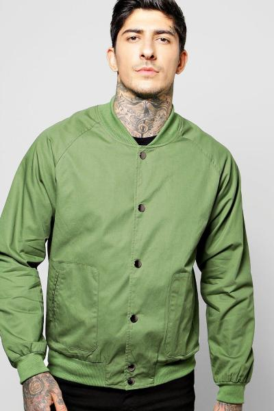 boohoo Bomber with Popper Buttons - sage