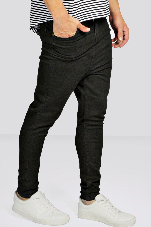 Boohoo Mens Drop Crotch Skinny Black Jeans