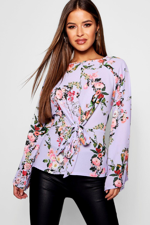Petite gewebte Bluse zum Binden vorne in BlumenPrint  Boohoo
