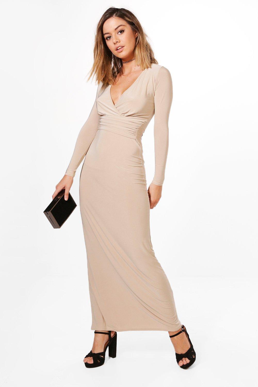 Boohoo Womens Petite Amber Wrap Gather Detail Maxi Dress