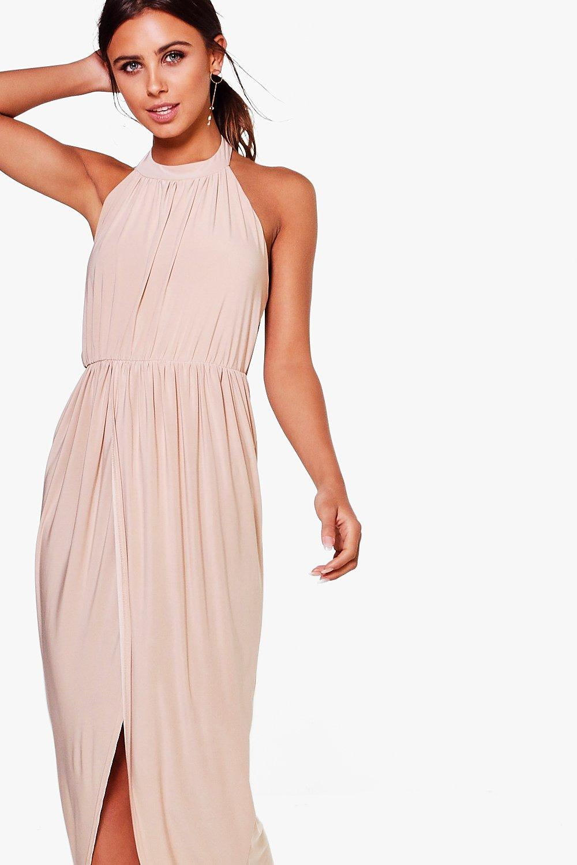 Boohoo Womens Petite Paige High Neck Drape Maxi Dress