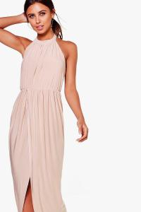 Boohoo Womens Petite Paige High Neck Drape Maxi Dress