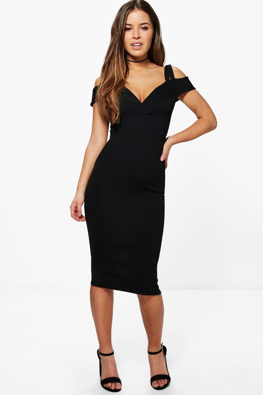 Boohoo Womens Petite Jane Strappy Cold Shoulder Midi Dress