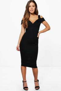 Boohoo Womens Petite Jane Strappy Cold Shoulder Midi Dress