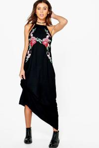 Boohoo Womens Petite Abi Embroidered Halter Neck Maxi ...