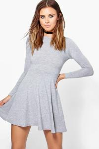 Boohoo Womens Petite Harriet Basic Long Sleeve Skater