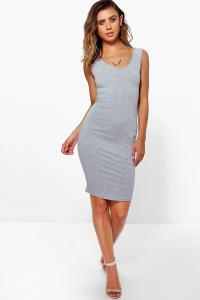 Boohoo Womens Petite Milly V Neck Jersey Midi Dress