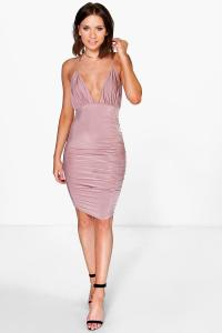 Boohoo Womens Petite Felicia Rouched Detail Midi Dress in ...