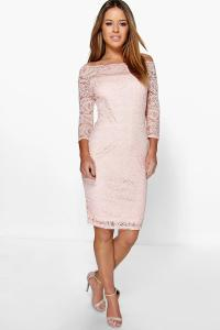 Boohoo Womens Petite Nikki Lace Bardot Midi Dress | eBay