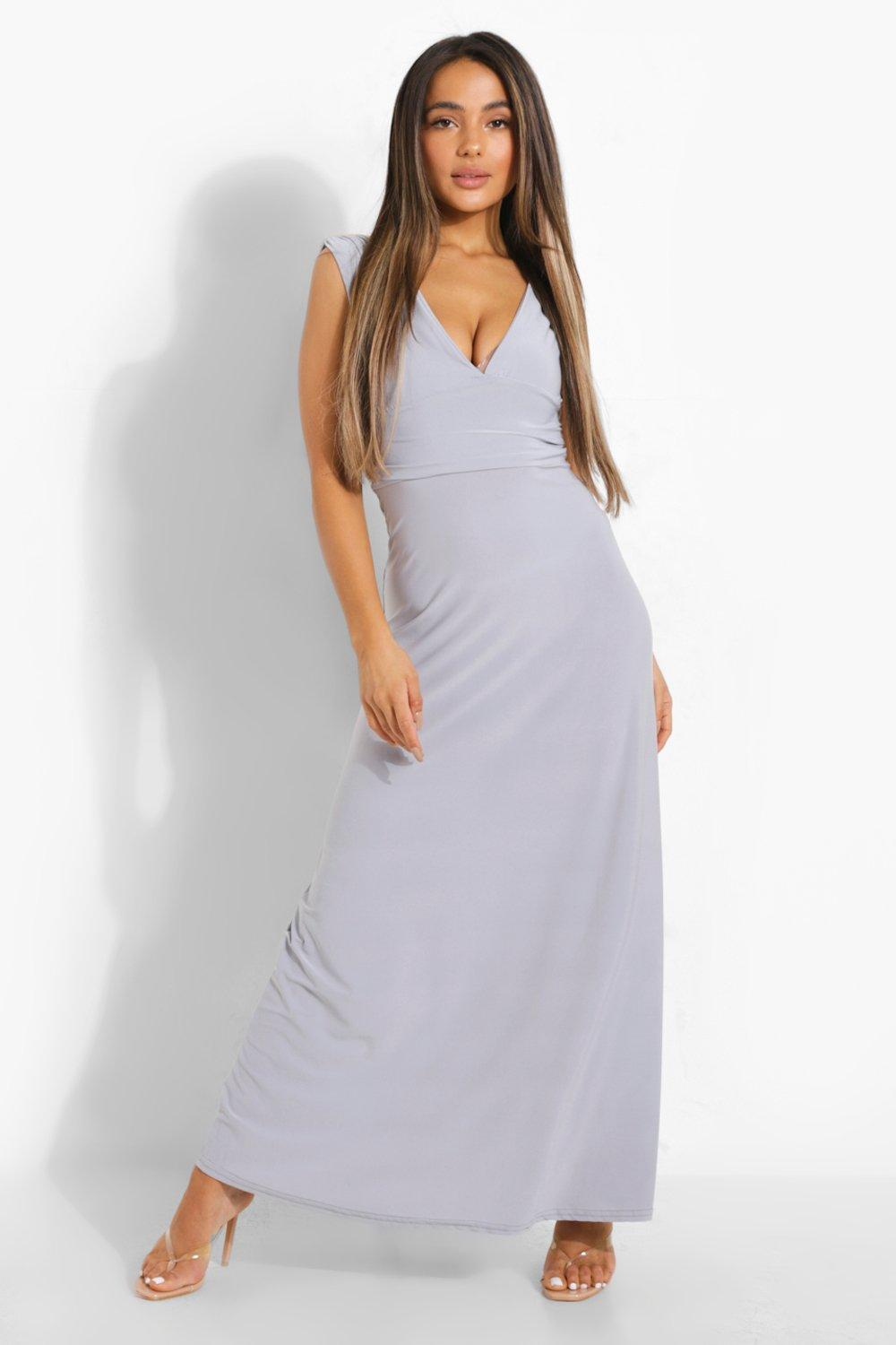 Boohoo Womens Petite Donna Plunge Ruched Maxi Dress