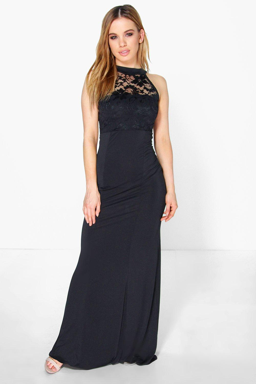 Boohoo Womens Petite Kirsty Lace Panel Slinky Maxi Dress