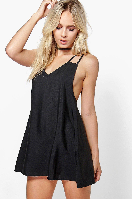 Boohoo Womens Petite Jenna Woven Strappy Slip Dress