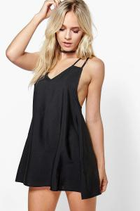 Boohoo Womens Petite Jenna Woven Strappy Slip Dress