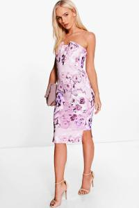 Boohoo Womens Petite Maisie Floral Panelled Midi Dress in ...