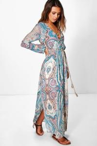 Boohoo Womens Petite Polly Paisley Cage Back Maxi Dress