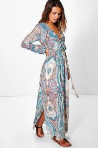 Boohoo Womens Petite Polly Paisley Cage Back Maxi Dress | eBay